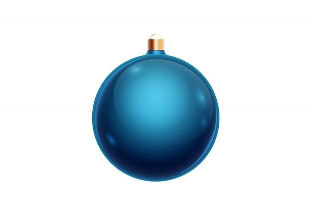 Blauwe kerstmisbal die op witte achtergrond wordt geïsoleerd. kerstversiering, ornamenten op de kerstboom.