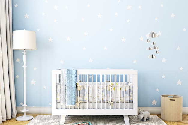Blauwe kinderkamer achtergrond en wieg