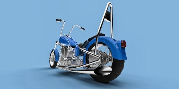 Blauwe klassieke aangepaste motor geïsoleerd op lichtblauwe achtergrond. 3d-rendering.