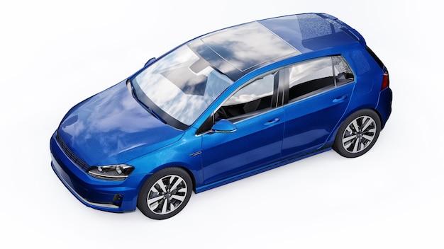 Blauwe kleine gezinsauto hatchback op witte achtergrond. 3d-rendering.