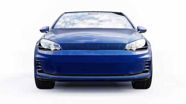 Blauwe kleine gezinsauto hatchback op witte achtergrond. 3d-weergave.