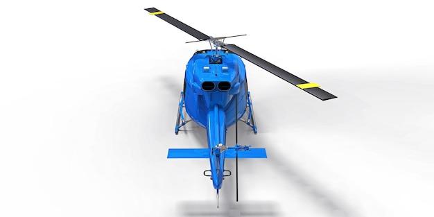 Blauwe kleine militaire transporthelikopter op witte geïsoleerde achtergrond. de reddingsdienst van de helikopter. luchttaxi. helikopter voor politie, brandweer, ambulance en reddingsdienst. 3d illustratie.