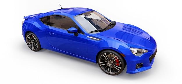 Blauwe kleine sportwagencoupé. 3d-rendering.
