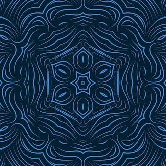 Blauwe kleur abstracte krullende lijn bloemen achtergrond