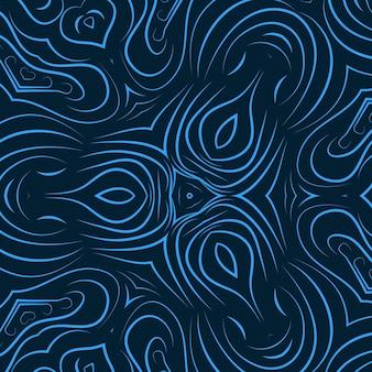 Blauwe kleur abstracte krullende lijn bloemen. felle kleurenpatroon behang gebogen vormen