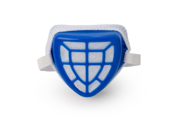 Blauwe kleur maskerbescherming stof op witte achtergrond