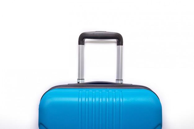 Blauwe koffer. creatieve zomervakantie, vakantie, reizen concept