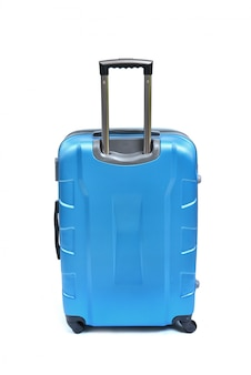 Blauwe koffer die op wit wordt geïsoleerd