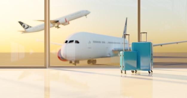 Blauwe koffers op een luchthaven met landingsbaan en onscherpe vliegtuigen erachter. reis concept. 3d-weergave