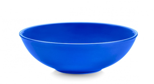 Blauwe kom op wit