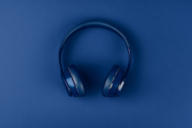 Blauwe koptelefoon, bovenaanzicht