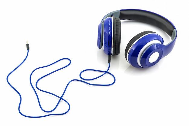 Blauwe koptelefoon.