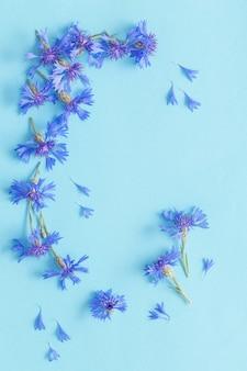 Blauwe korenbloemen op blauw papier achtergrond