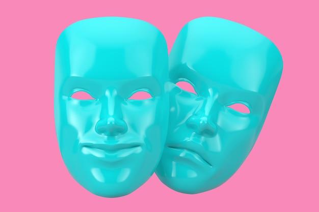 Blauwe lachende komedie en triest drama grotesk theatermasker in duotone-stijl op een roze achtergrond. 3d-rendering