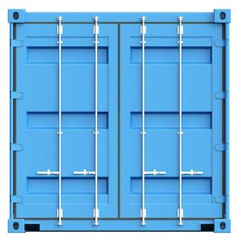 Blauwe ladingscontainer op witte achtergrond. 3d illustratie