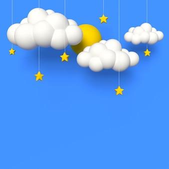 Blauwe lucht achtergronddecoratie wolken zon en sterren heldere kinderstijl3d