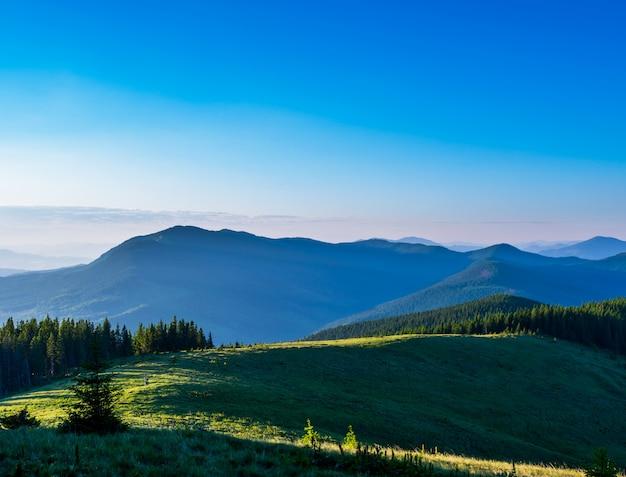 Blauwe lucht en groene heuvels.
