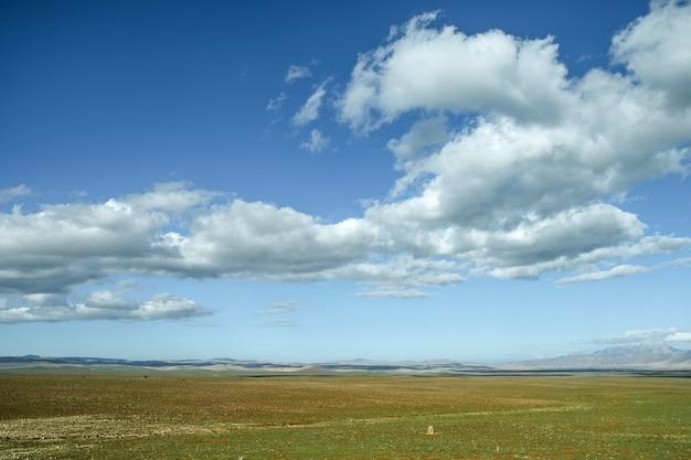 Blauwe lucht en zwevende wolken boven het grasveld.