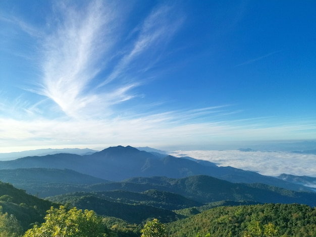 Blauwe lucht met bergen en witte wolken
