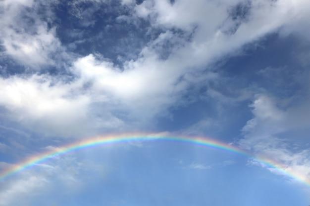 Blauwe lucht met regenboog