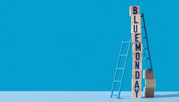 Blauwe maandag met houten kubussen, ladders en exemplaarruimte