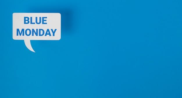 Blauwe maandag met praatjebel en exemplaarruimte