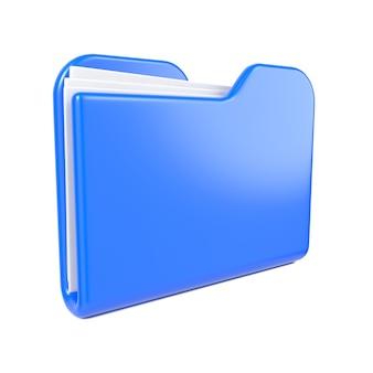 Blauwe map, alleen blauwe map. geïsoleerd op wit.