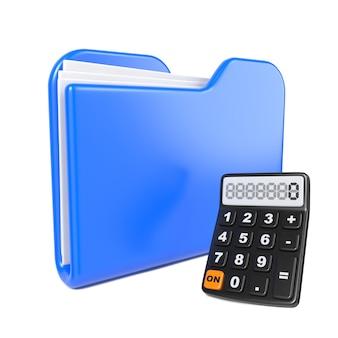 Blauwe map met toon-calculator. geïsoleerd op wit.