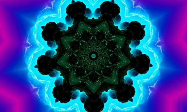 Blauwe marine caleidoscoop patroon abstracte achtergrond. cirkel patroon. abstracte fractal caleidoscoopachtergrond. abstracte fractal patroon geometrische symmetrische sieraad. caleidoscoop blauw patroon