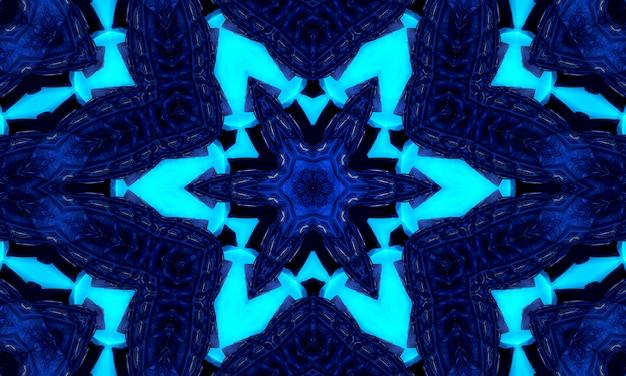 Blauwe marine caleidoscoop ster abstracte achtergrond. veelhoek cirkel patroon. abstracte fractal caleidoscoopachtergrond. abstracte fractal patroon geometrische symmetrische sieraad. caleidoscoop blauw patroon.