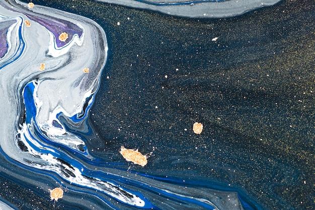 Blauwe marmeren swirl achtergrond abstracte vloeiende textuur experimentele kunst experimental