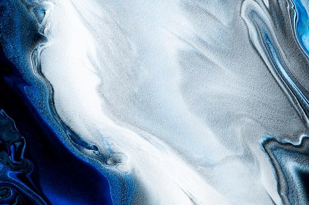 Blauwe marmeren swirl achtergrond diy abstracte vloeiende textuur experimentele kunst