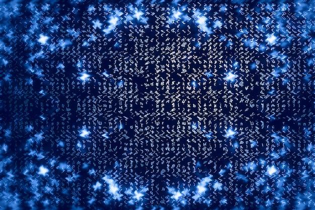 Blauwe matrix digitale achtergrond.