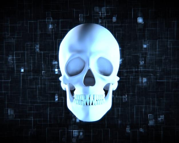 Blauwe menselijke schedel