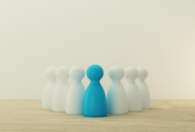 Blauwe mensen blinken uit in de massa. human resource, talent management, recruitment medewerker, succesvol business team leider concept.