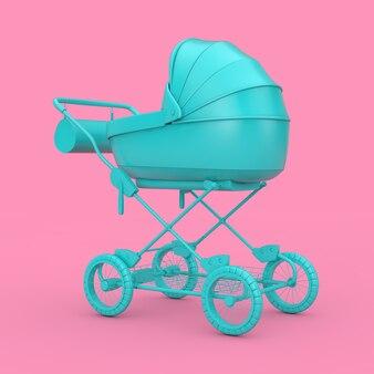 Blauwe moderne kinderwagen, kinderwagen, kinderwagen mock up op een roze achtergrond. 3d-rendering