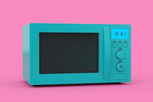Blauwe moderne magnetron oven als duotone style op een roze ondergrond. 3d-rendering