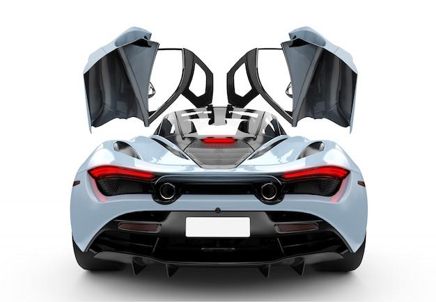 Blauwe moderne sportwagen met operendeuren