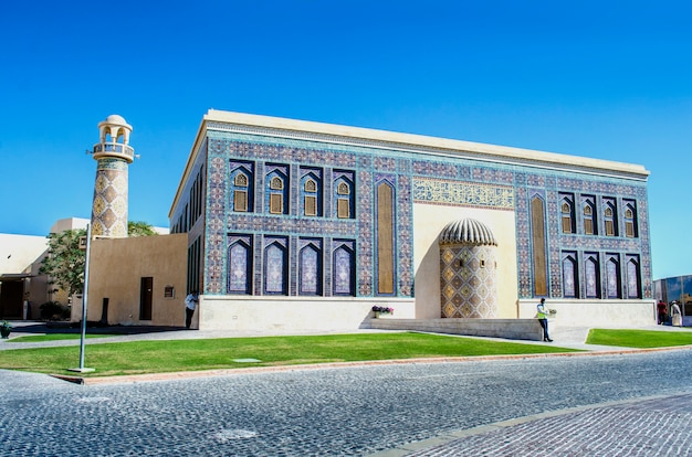 Blauwe moskee in het culturele dorp katara op 11 mei