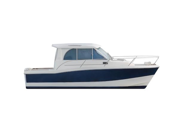 Blauwe motorboot geïsoleerd op wit