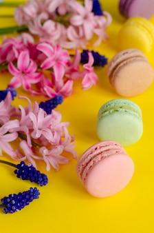 Blauwe muscari-bloemen, roze hyacint en macarons of bitterkoekjes op geel