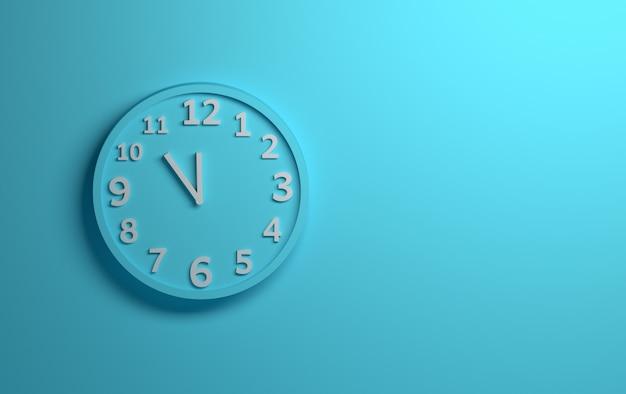Blauwe muurklok met witte aantallen op achtergrond van blauw