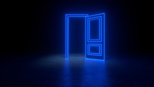 Blauwe neon deur