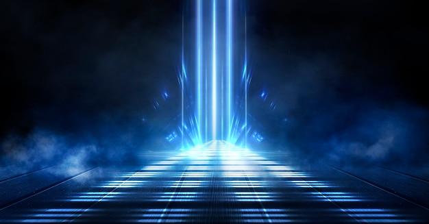 Blauwe neon donkere achtergrond
