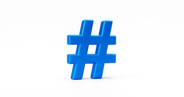 Blauwe netwerk hashtag pictogram teken of online technologie media tag trend communicatie en sociale volg symbool geïsoleerd op een witte achtergrond met illustratie zoals chat community post ontwerp. 3d-weergave.