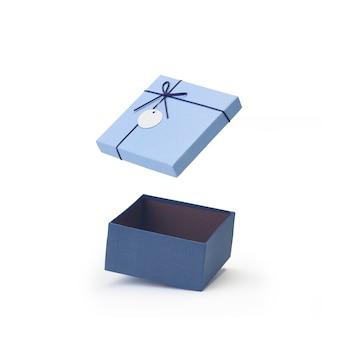 Blauwe open lege papieren geschenkdoos deksels drijvend geïsoleerd op wit
