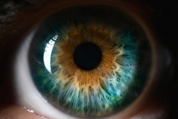 Blauwe oranje menselijke oog dichte omhooggaande achtergrond.