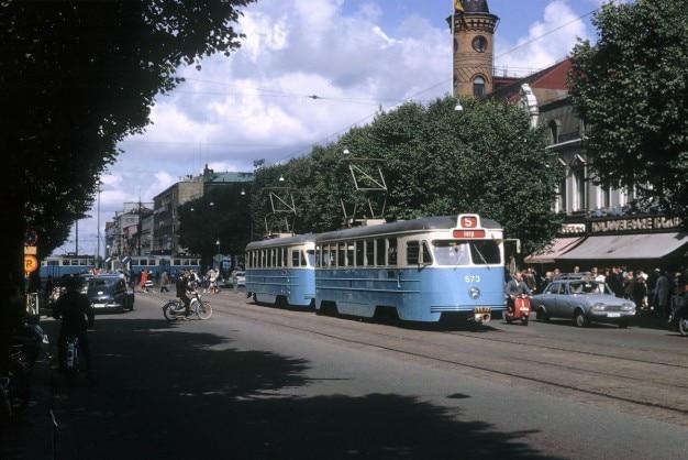 Blauwe oude trams