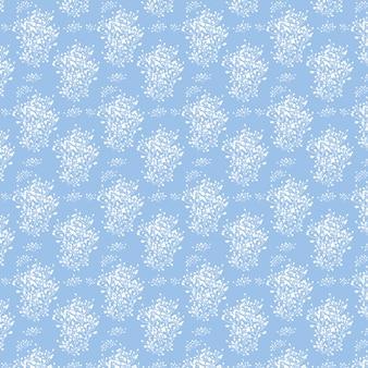 Blauwe pagina met witte bloemen eindeloze textuur kan worden gebruikt voor de achtergrond van de webpagina van het behang