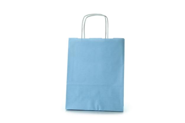 Blauwe papieren zak geïsoleerd op wit